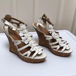 Guess Women Open Toe Cork Platform Shoes